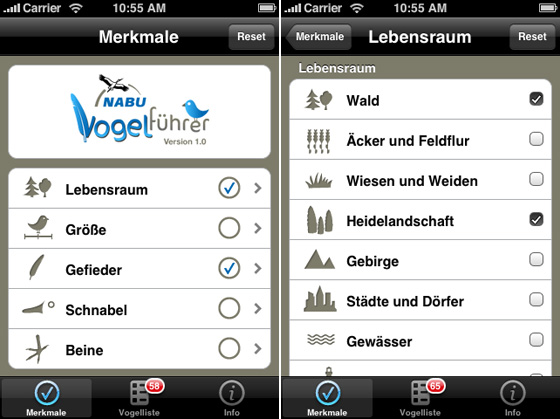 iPhone Vogelführer Screenshots
